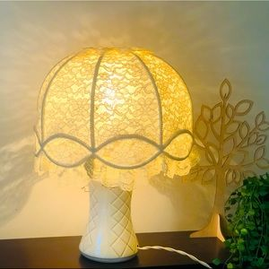 Vintage Lace Lampshade With Base